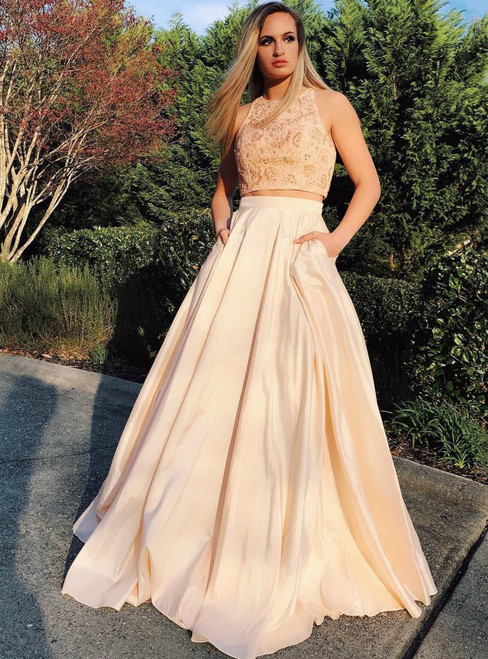 A-Line Champagne Two Piece Satin Beading Long Prom Dress