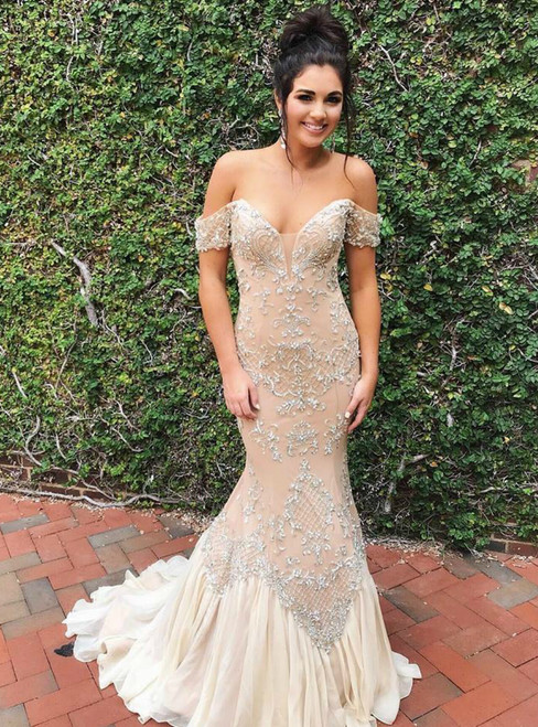 Champagne Mermaid Tulle Off-The-Shoulder Sweep Train Prom Dress With Beading