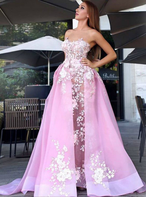 Strapless Pink Organza Appliques Strapless Long Prom Evening Dress