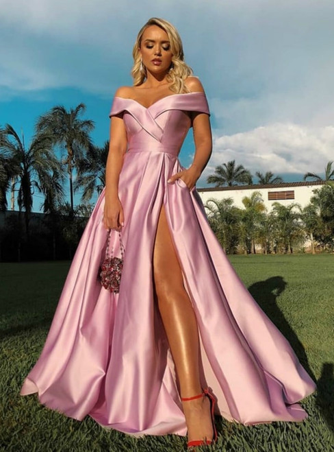 Pink Satin Off the Shoulder Long Prom Dress With Side Split