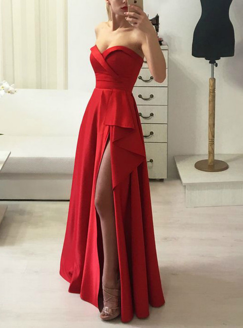 A-line Simple Red Sweetheart Long Prom Dress With Side Split