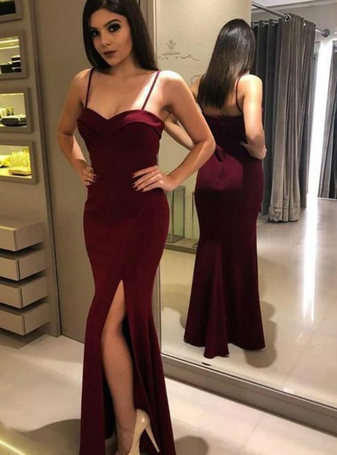 Burgundy Mermaid Satin Spaghetti Straps Long Prom Dress