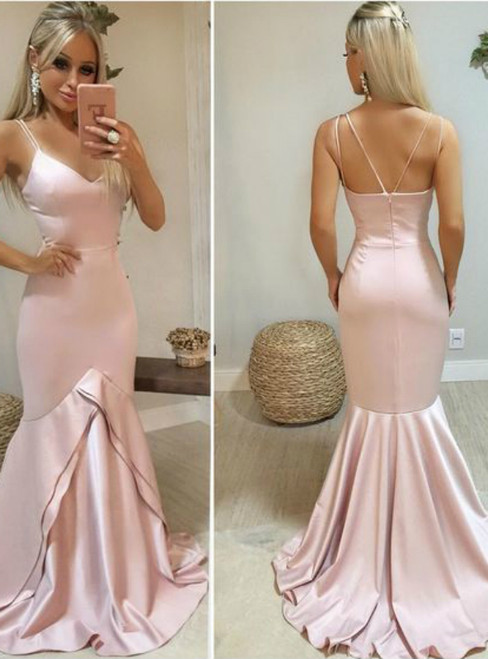 Sexy Pink Mermaid Satin V-neck Long Prom Dress With Double Straps