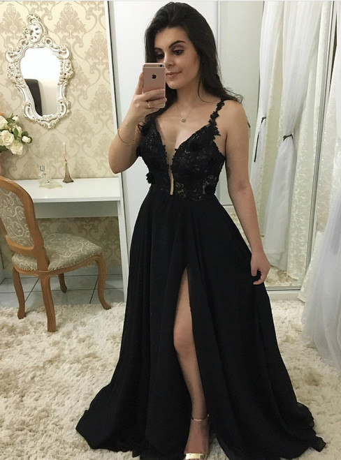 Sheer Plunging Neck Black Chiffon Prom Dress With Side Split