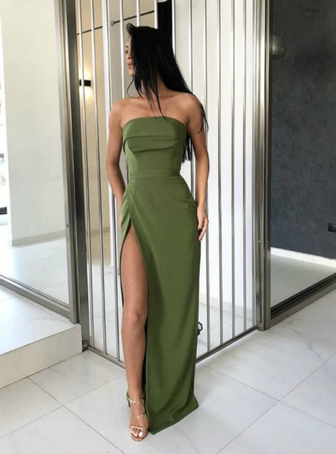 Green Strapless Floor Length Long Pageant Dress Evening Gown with Side Split