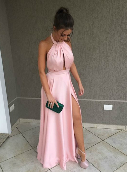 A-Line Pink Halter Cut Out Halter Pleats Prom Dress With Side Split