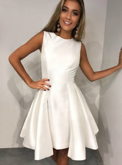 Jewel Neckline Short Satin Sleeveless Homecoming Party Dress