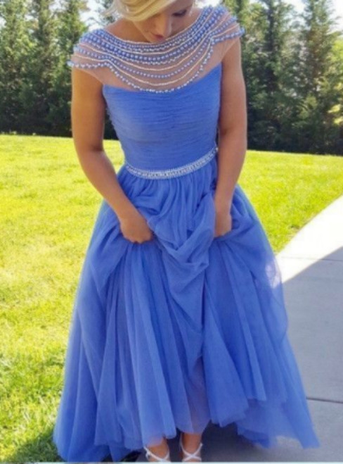 Sparkly A-line Scoop Backless Beaded Tulle Blue Prom Dresses With Beading