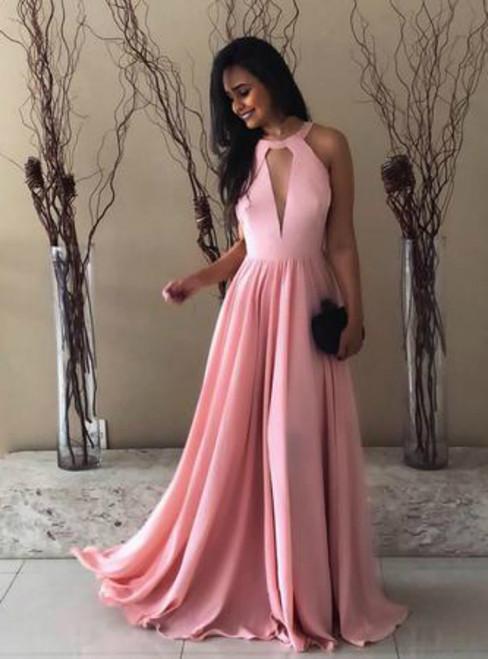 A-Line Pink Keyhole Front Bodice Backless Long Prom Dress