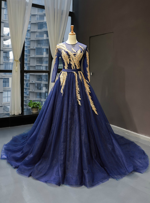 Navy Blue Tulle Long Sleeve Backless Haute Couture Prom Dress With Beading Sequins
