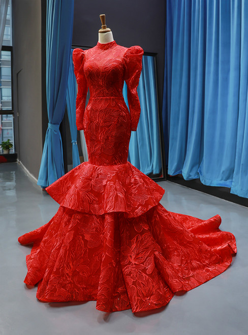 Red Mermaid Lace High Neck Long Sleeve Backless Haute Couture Prom Dress
