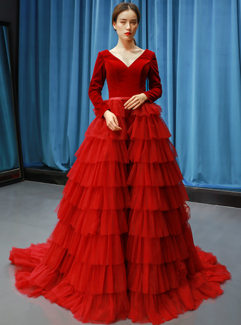 57a3896a9e67 Red Ball Gown Tulle Velvet Long Sleeve V-neck Haute Couture Prom Dress