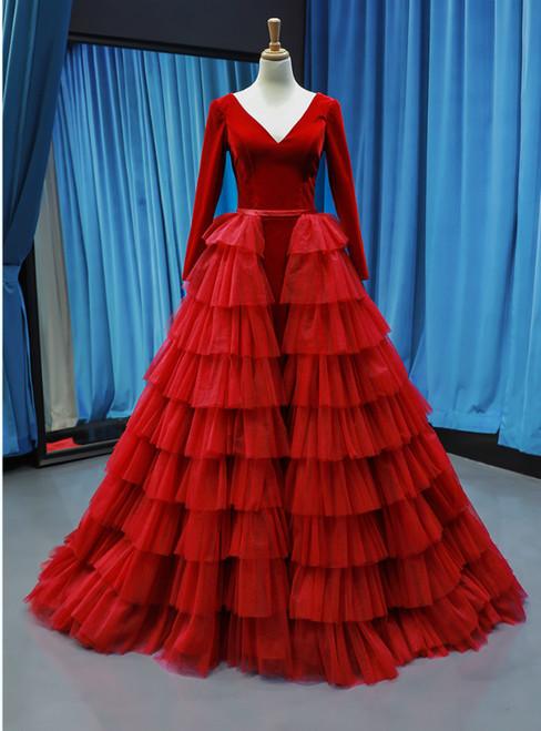Red Ball Gown Tulle Velvet Long Sleeve V-neck Haute Couture Prom Dress