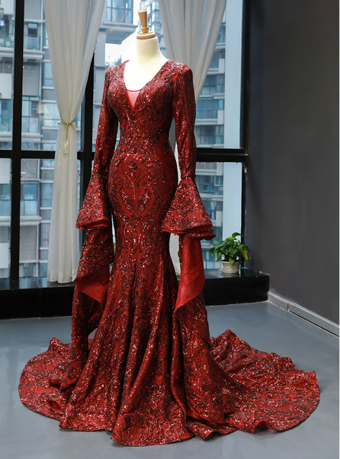 Burgundy Mermaid Sequins V-neck Flare Sleeve Backless Prom Dress