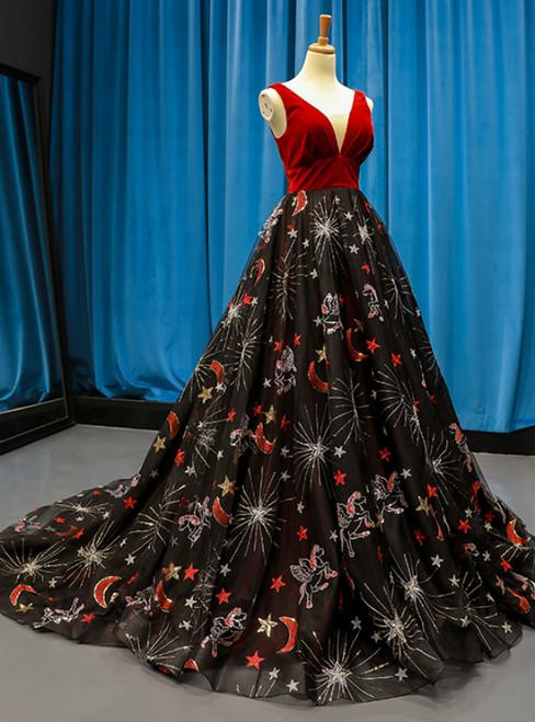 Burgundy Velvet Black Tulle Embroidery V-neck Backless Haute Couture Prom Dress