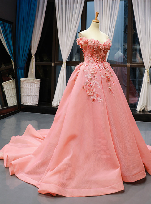 Pink Ball Gown Tulle Off the Shoulder Appliques Prom Dress With Train