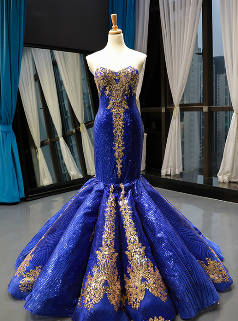 Royal Blue Sequins Mermaid Sweetheart Two Piece Prom Dress