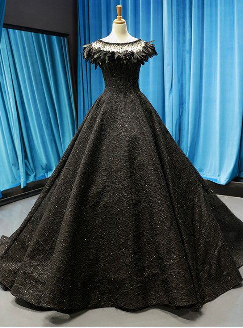Black Ball Gown Sequins Beading Bateau Prom Dress With Feather