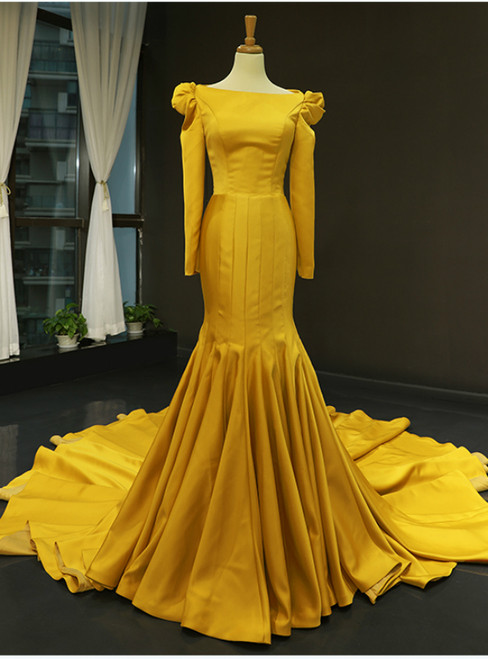 Simple Yellow Mermaid Satin Long Sleeve Prom Dress With Long Train