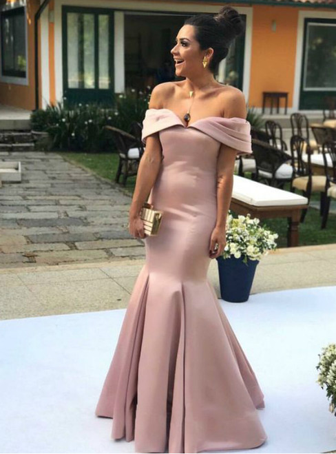 Pink Mermaid Satin Off the Shoulder Prom Dress Evening Gown