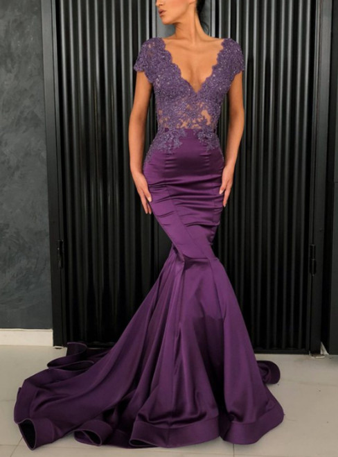 Purple Mermaid Satin Appliques V-neck Cap Sleeve Prom Dress