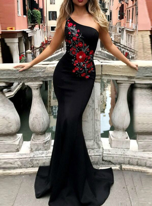 Black Mermaid Satin One Shoulder Embroidery Flower Prom Dress