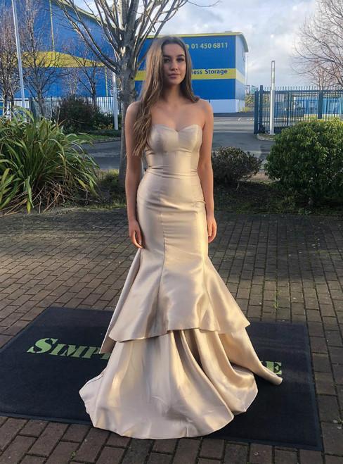 Champagne Mermaid Satin Sweetheart Long Prom Dress