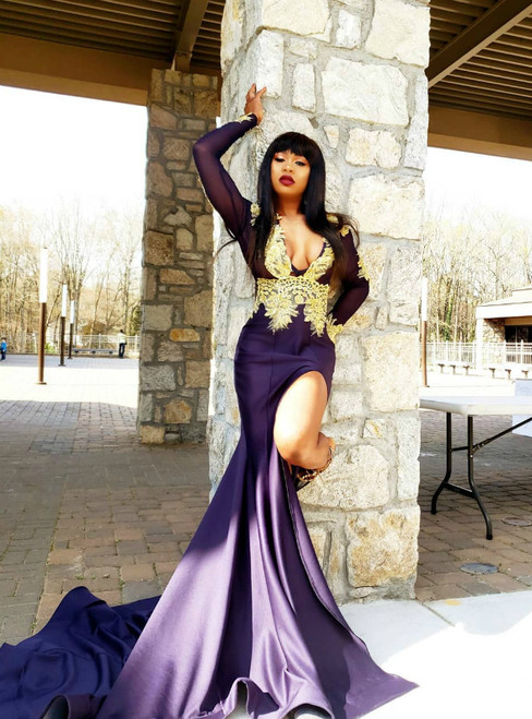 Purple Mermaid Satin Deep V-neck Long Sleeve Appliques Prom Dress