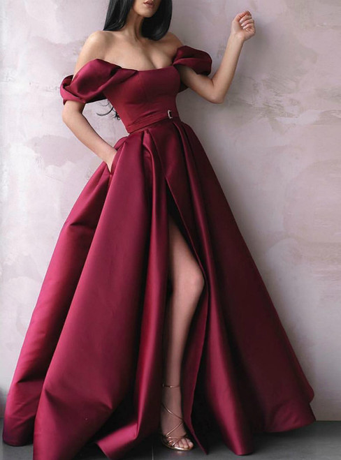 Burgundy Satin Off the Shoulder Side Split Prom Dress With Pocket