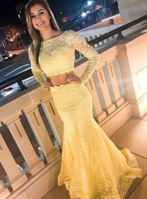 Yellow Mermaid Two Piece Lace Long Sleeve Prom Dress
