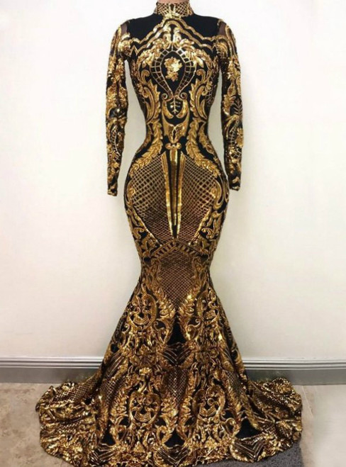 High Neck Mermaid Long Sleeve Gold Sequin Sparkly Prom Dress