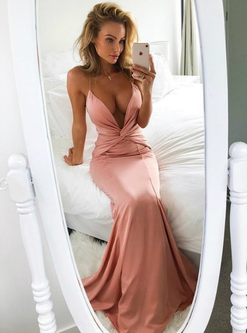 Mermaid Deep V-Neck Sweep Train Blush Long Prom Dress