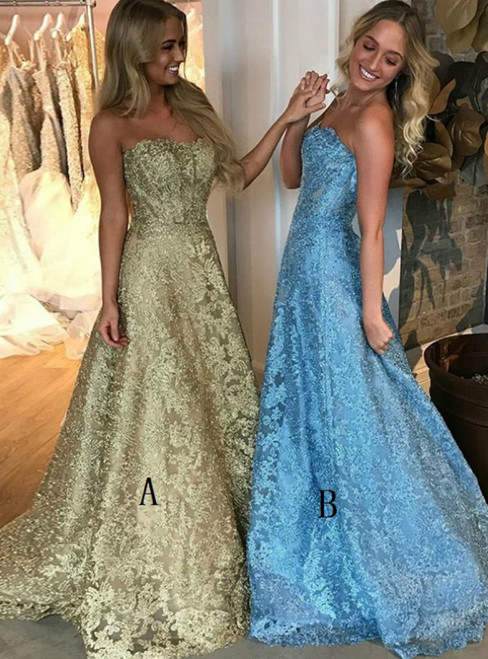 A-Line Gold Lace Sweetheart Neck Long Prom Dress