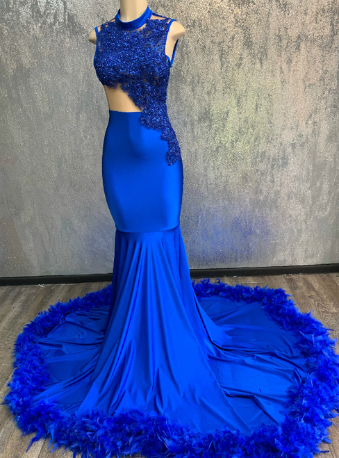 Sheath Royal Blue Mermaid Sleeveless High Neck Long Prom Dresse