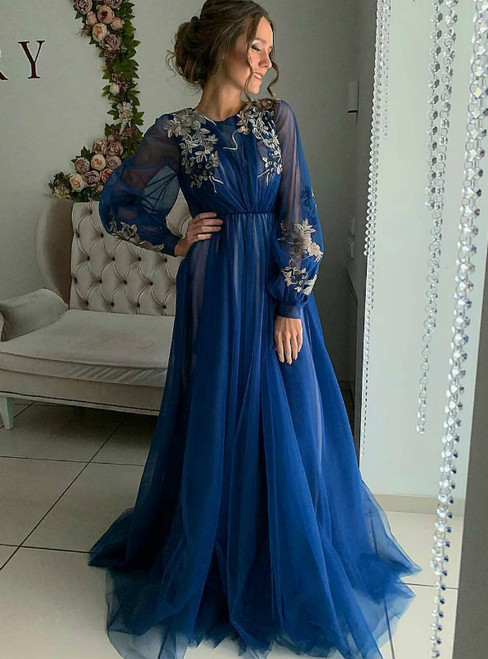 A-Line Blue Tulle Appliques Long Sleeve Long Prom Dress