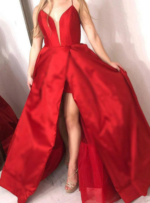 Red Satin Spaghetti Straps Satin Backless Prom Dress With Side Split
