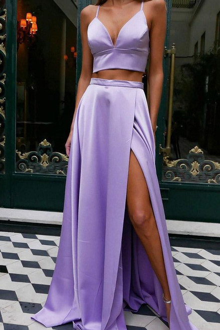 Lavender Satin Spaghetti Straps Two Piece Bowknot Back Long Prom Dress