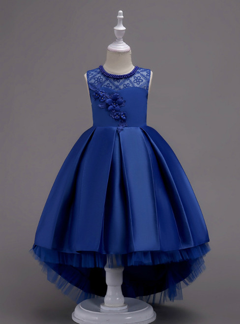 In Stock:Ship in 48 Hours Blue Hi Lo Satin Appliques Girl Dress