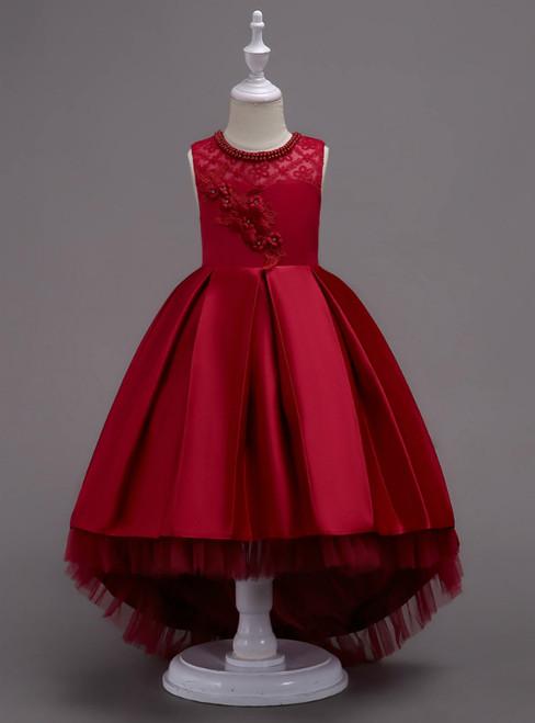 In Stock:Ship in 48 Hours Burgundy Hi Lo Satin Appliques Girl Dress