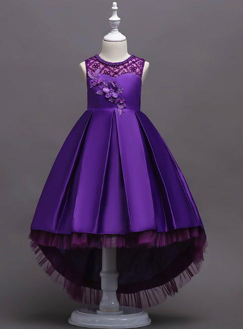 In Stock:Ship in 48 Hours Purple Hi Lo Satin Appliques Girl Dress
