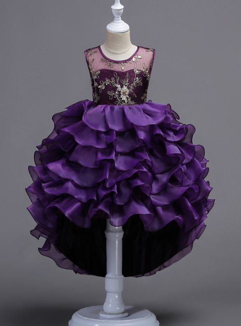 In Stock:Ship in 48 Hours Purple Hi Lo Organza Appliques Girl Dress