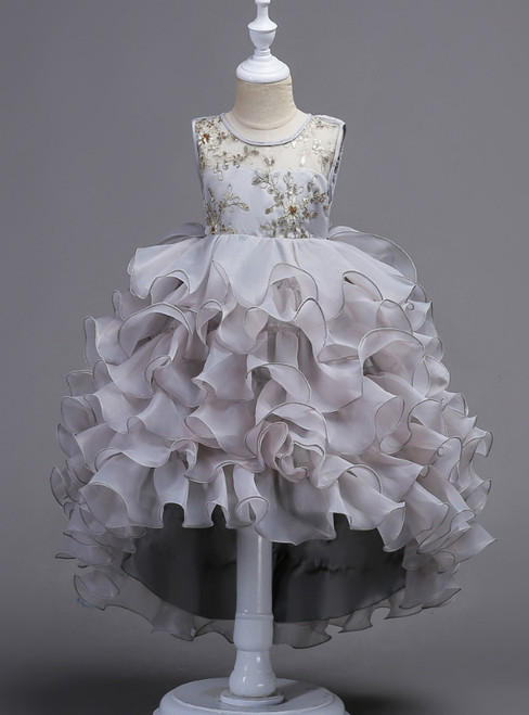 In Stock:Ship in 48 Hours Gray Hi Lo Organza Appliques Girl Dress