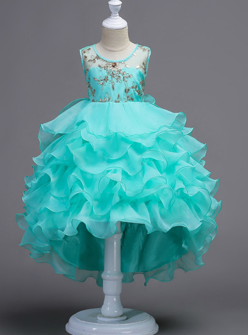 In Stock:Ship in 48 Hours Green Hi Lo Organza Appliques Girl Dress