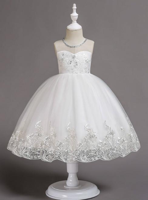 In Stock:Ship in 48 Hours White Tulle Appliques Flower Girl Dress