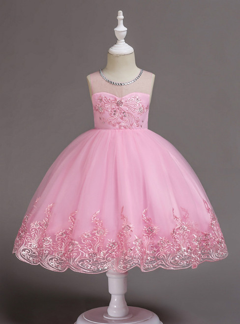 In Stock:Ship in 48 Hours Pink Tulle Appliques Sequins Flower Girl Dress