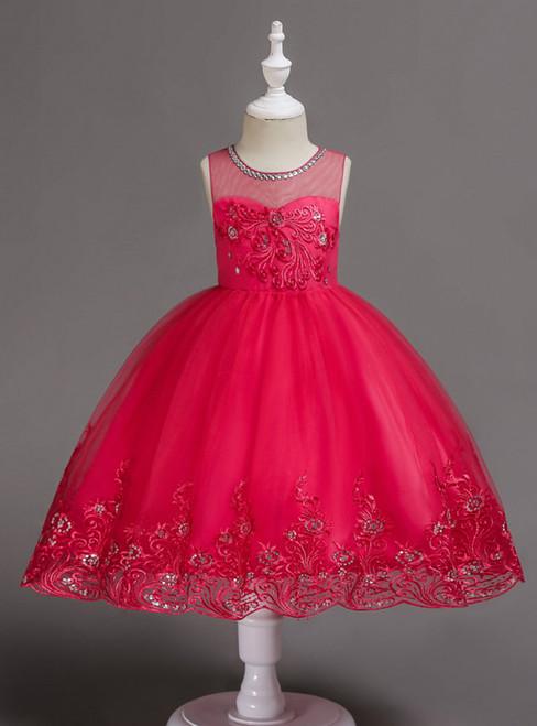 In Stock:Ship in 48 Hours Fuchsia Tulle Appliques Short Flower Girl Dress