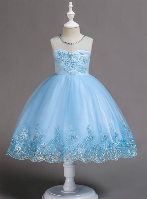 In Stock:Ship in 48 Hours Blue Tulle Appliques Short Flower Girl Dress