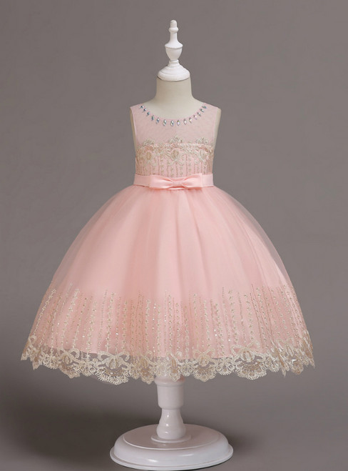 In Stock:Ship in 48 Hours Pink Tulle Appliques Girl Dress