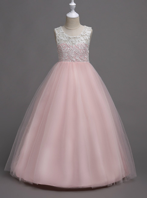 In Stock:Ship in 48 Hours Pink Tulle Appliques Long Flower Girl Dress