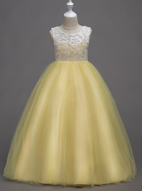 In Stock:Ship in 48 Hours Yellow Tulle Appliques Long Flower Girl Dress
